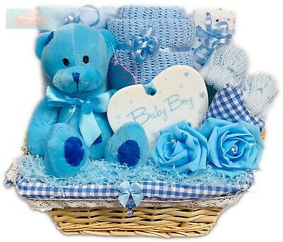 Baby Boy Patched Bear Gift Basket Maternity Leave Baby Shower Gift