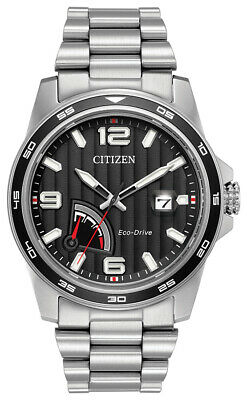 Citizen EcoDrive Men's PRT Black Dial Silver Tone 42mm Watch AW7030-57E