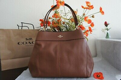 657f2594953f1 NWT COACH F28997 Lexy Shoulder Bag In Saddle 2 Pebble Leather  395 ...