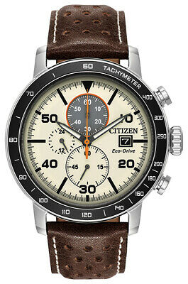 Citizen Eco-Drive Men's Chronograph Brown Leather Strap 44mm Watch CA0649-06X