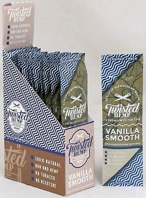 Twisted Hemp Vanilla Smooth Premium Wraps 15pks 30 Wraps Rolling Papers FULL BOX