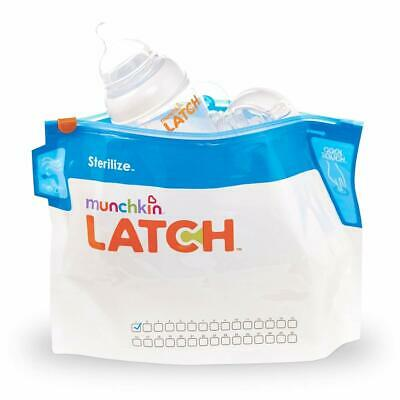 Munchkin Latch Steriliser Bags Cleans Teats Soothers Cool Touch Grip Pack Of 6