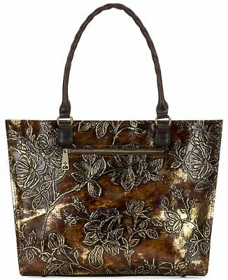 23a4db0df33f Patricia Nash Zancona Medium Tote Bag Bark Leaves Brown Gold Leather ITALY