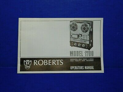 Vintage Instruction Owners Manual - Roberts Reel Tape 1700