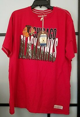 NHL Chicago Blackhawks Mitchell & Ness Vintage Hockey Red T-Shirt Adult XL