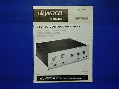 Vintage Instruction Owners Manual - Dynaco SCA-35 Stereo Control Amplifier