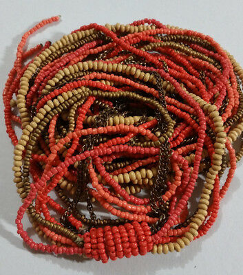 VINTAGE LONG MULTI STRAND LARIAT BEAD NECKLACE, 125cm