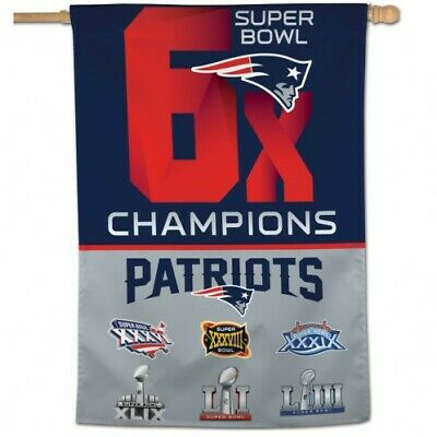 "New England Patriots 6X Super Bowl Nfl Champions House Flag Wall Banner 28""x40"""