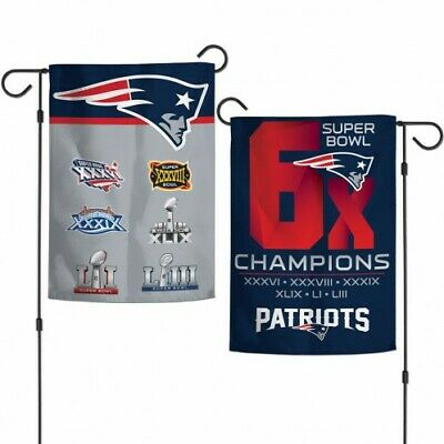 "New England Patriots 6X Super Bowl Champions Double Sided Garden Flag 12""x18"""