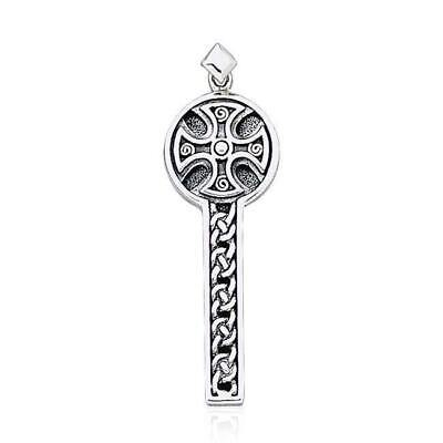 Celtic Spiral Medieval Cross .925 Sterling Silver Pendant by Peter Stone