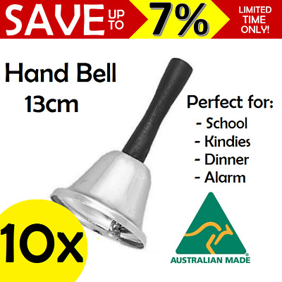 10 Pack Hand Held Silver Ringing Bell Office School Childcare Reception Dinner