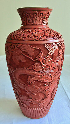 Chinese Cinnabar Vase Dragons China Vintage Asian Decor Hand Carved 9 inch