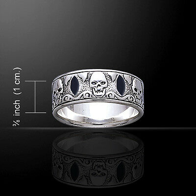 Pirate Skull .925 Sterling Silver Band Ring by Peter Stone