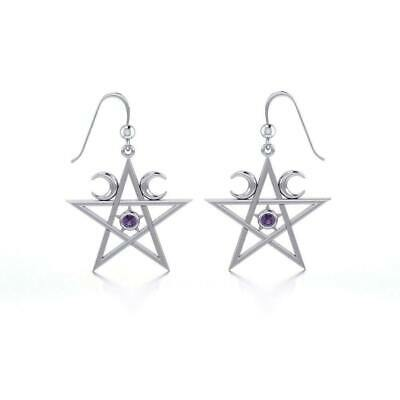Wiccan Pentacle Crescent Moon .925 Sterling Silver Earrings Peter Stone