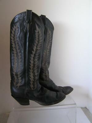 fbe5c9f0bea LARRY MAHAN WOMEN'S Western High Calf Boots Black tooled Leather size 6 B