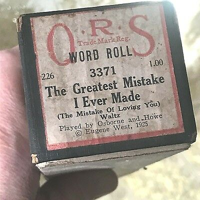 "QRS Player Piano Roll ""The Greatest Mistake I Ever Made""No. 0464 Good Condition!"