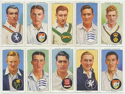 PLAYER, John - 1938 : Cricketers 1938 Complete Set (50) Cigarette Cards