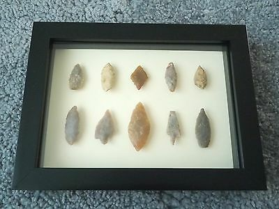 Neolithic Arrowheads in 3D Picture Frame, Authentic Artifacts 4000BC (0430)