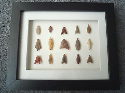 Neolithic Arrowheads in 3D Picture Frame, Authentic Artifacts 4000BC (Z081)