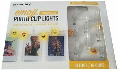 Merkury Innovations 10 ft Emoji Photo Clip LED Lights with 16 photos clips - NEW