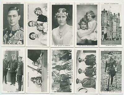 WILLS UK - 1937 : Our King & Queen Complete Set (50) Cigarette Cards