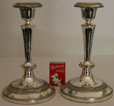 Pair Candlesticks Silver Plate Ornate 2 Candle Holders Regency Vintage Viners