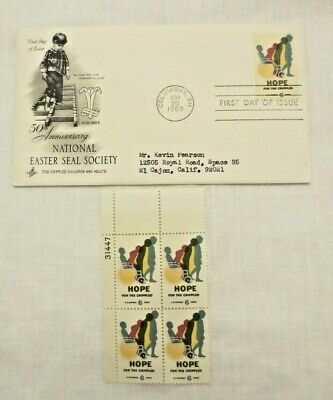 Easter Seal 50th Anniversary 1969 First Day issue 4 - 6 Cent Stamp block