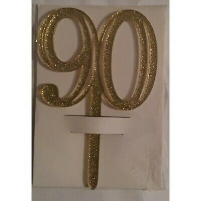 Gold Acrylic 90th Birthday 90 Cake Topper Free Post