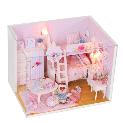 Cute Pink Girl Miniature Wooden Doll House with Music Box Dust Cover LED Lights