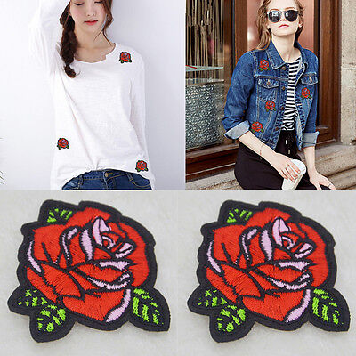 2pcs/Set  Red Rose Flower Embroidery Applique Cloth Sew pon Iron On Patch Hot GA