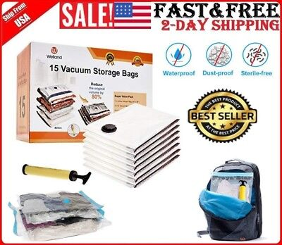 15pc Vacuum Storage Bags Space Saver + Hand Pump For Travel Triple Seal Clothes