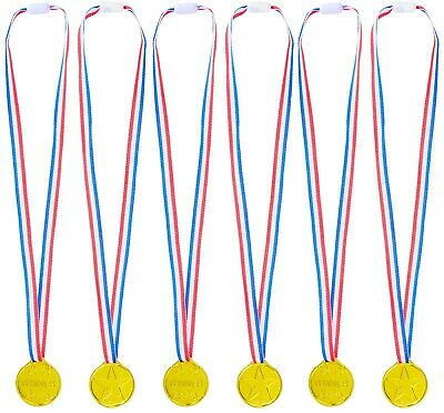 25 Gold Plastic Winner Medals Kids Party Bag Loot Fillers Sports Day Games Award
