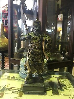 Vintage General Guan Gong Solid Bronze Gold Gilt Asian Man Figurine