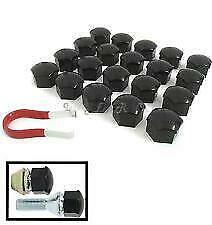 21mm BLACK Wheel Nut Covers with removal tool fits FIAT DUCATO 2008on (ET)