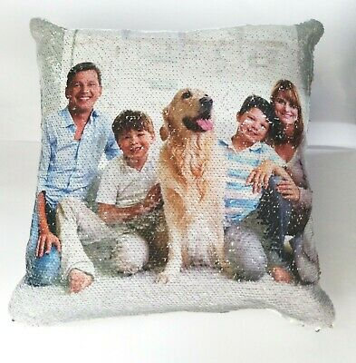 Personalised Sequin Cushion Magic Mermiad Photo Reveal Pillow Case & Filling