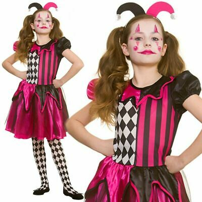 Kids Girls Freaky Jester Circus Halloween Harlequin Fancy Dress Costume