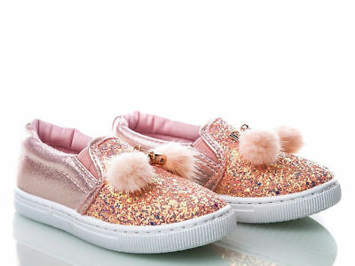 8.5UK GIRLS Glitter Pom FUR Pumps Plimsolls SNEAKERS TRAINERS SHOES Shimmer