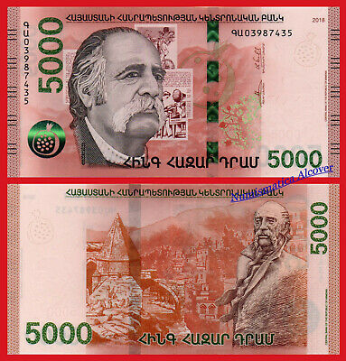 ARMENIA 5000 Dram 2018 William Saroyan Pick NEW  SC / UNC
