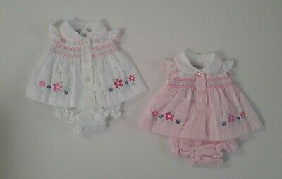 Premature preemie tiny baby girls clothes smocked dress pants set 3-8 lbs