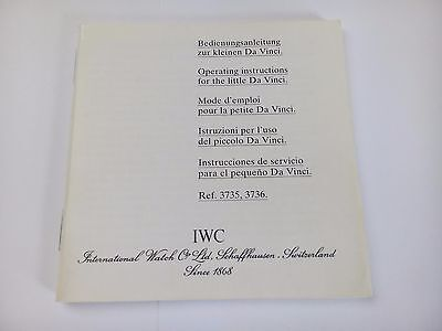 IWC instruction manual booklet for little Da Vinci ref:3735 and 3736