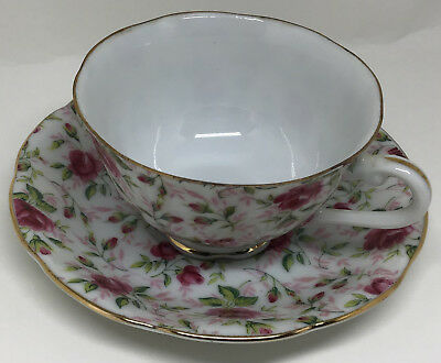 Lefton China Gold Trimmed Rose Chintz Pattern Cup and Saucer.