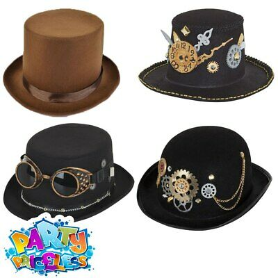 Steampunk Bowler Top Hat Victorian Mens Ladies Adults Fancy Dress Costume