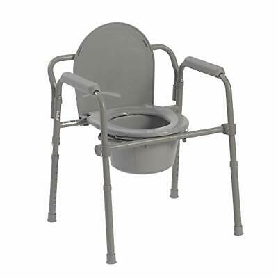 Toilet Seat Senior Citizen Bathroom Safety Chair Folding Steel Bedside Commode