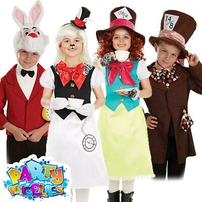 Girls Boys Mad Hatter Costume White Rabbit Outfit Kids Fancy Dress Book Day Week