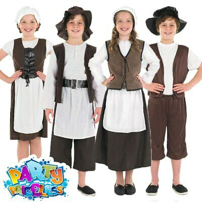 Kids Tudor Boy Girl Costume Poor Victorian Childs Fancy Dress Outfit Book Week