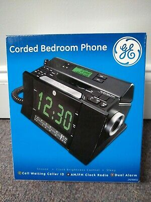 Ge 29298fe1 Corded Bedroom Phone With Caller Id Radio Dual Alarm Clock Black