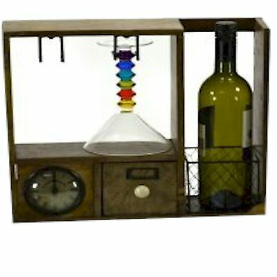 County Kitchen Rustic Wooden Storage Wine Store with a Clock STC781223