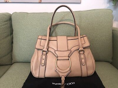 a8657aa1f4f Dolce Gabbana Tan Leather Large Shoulder Bag Authentic Made In Italy EUC