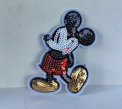 Disney Small Sequin Mickey Mouse Embroidered Appliqué Patch Sew Or Iron On #461