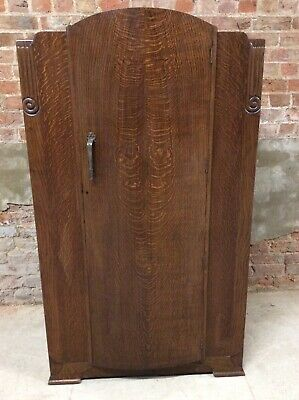 Vintage Art Deco Style Single Wardrobe - Oak & Oak Veneer
